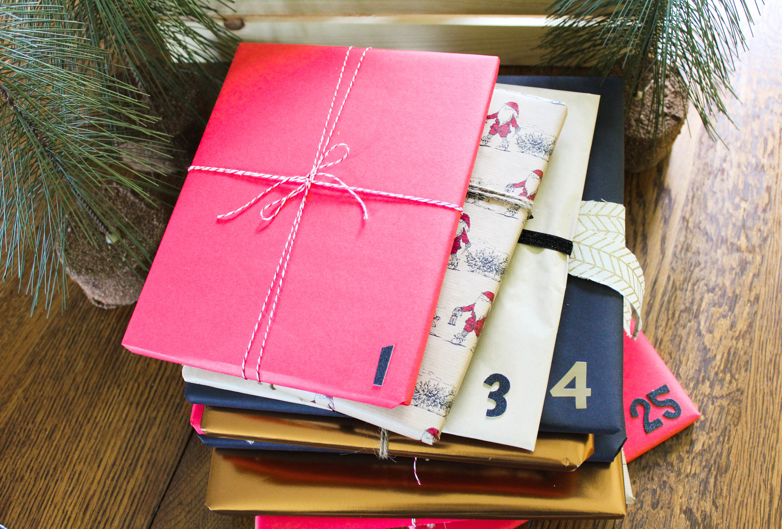 Wrapped & numbered Christmas Books for Advent