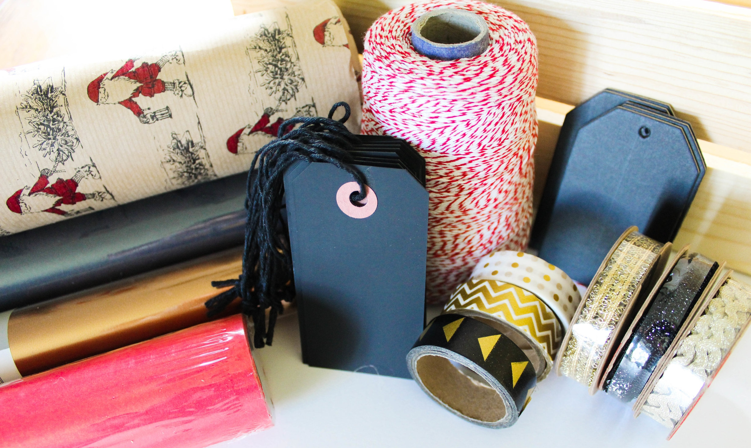 Coordinated gift wrap, decorative tape, tags and ribbon
