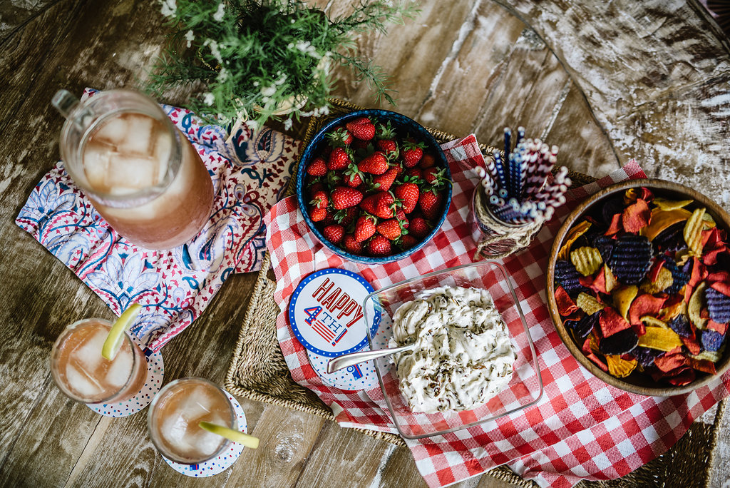 Homemade French onion dip via Ina Garten, terra chips, fresh picked strawberries and Lemonade champagne punch, Rachel Cuthbert Photography