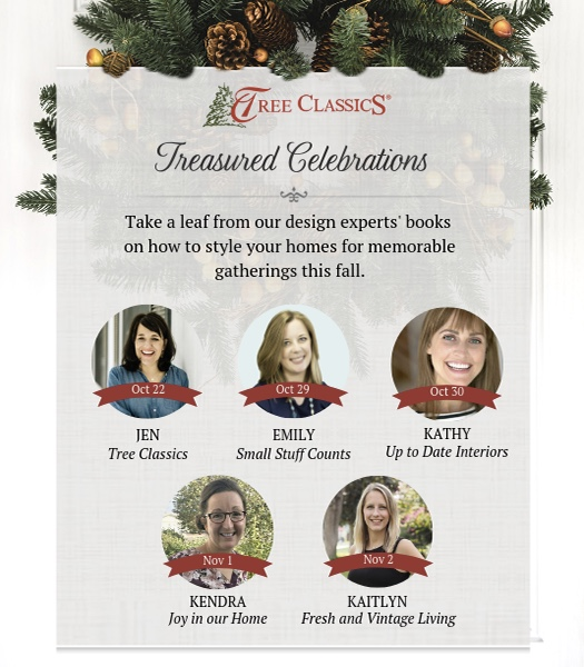 Join us as tree classics kicks of the holiday season with our treasured celebrations blog hop! Each of us will be offering our design ideas for creating a welcoming fall home.