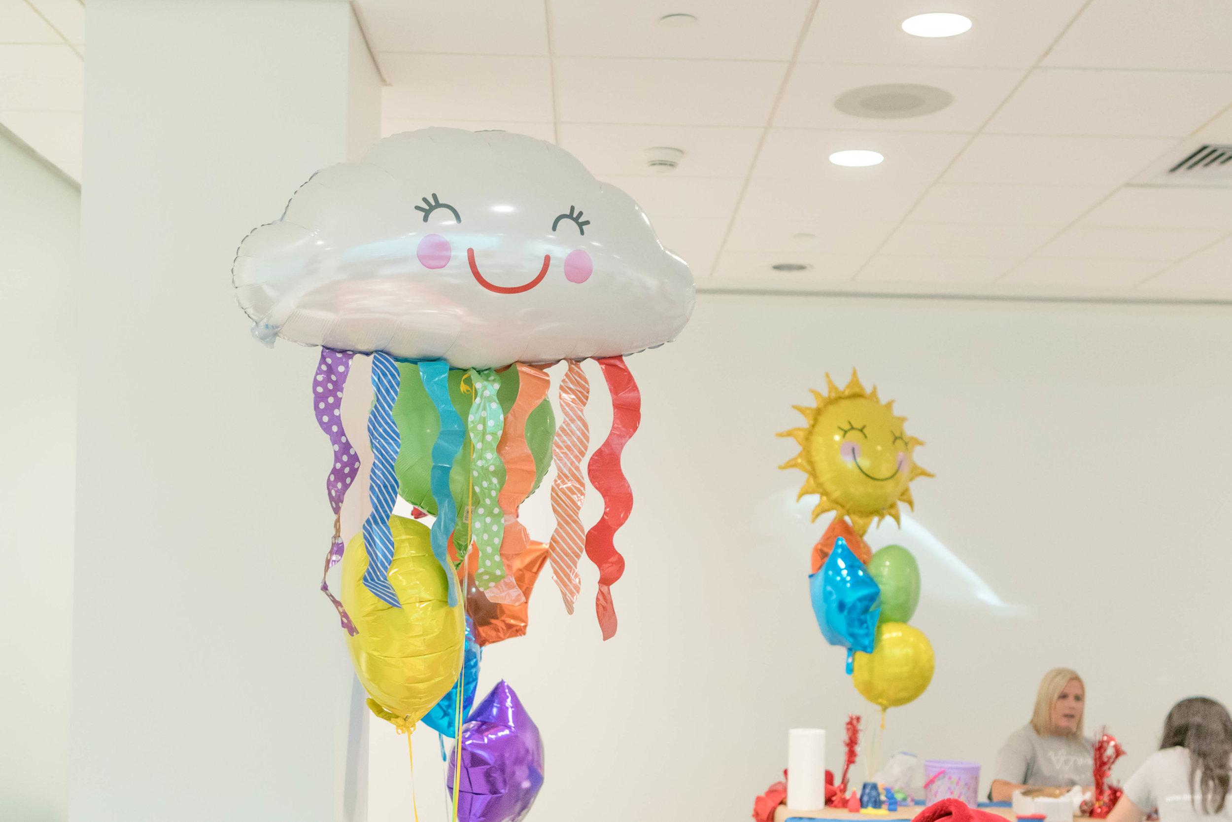 Found the cloud & sunshine mylar balloons via  Party City . Love them!