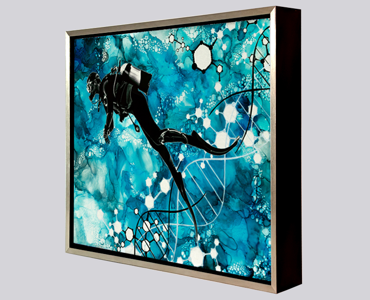 "Framed Metal Prints - 8"" x 10"" aluminum prints are mounted within a silver and black metal floater frame."