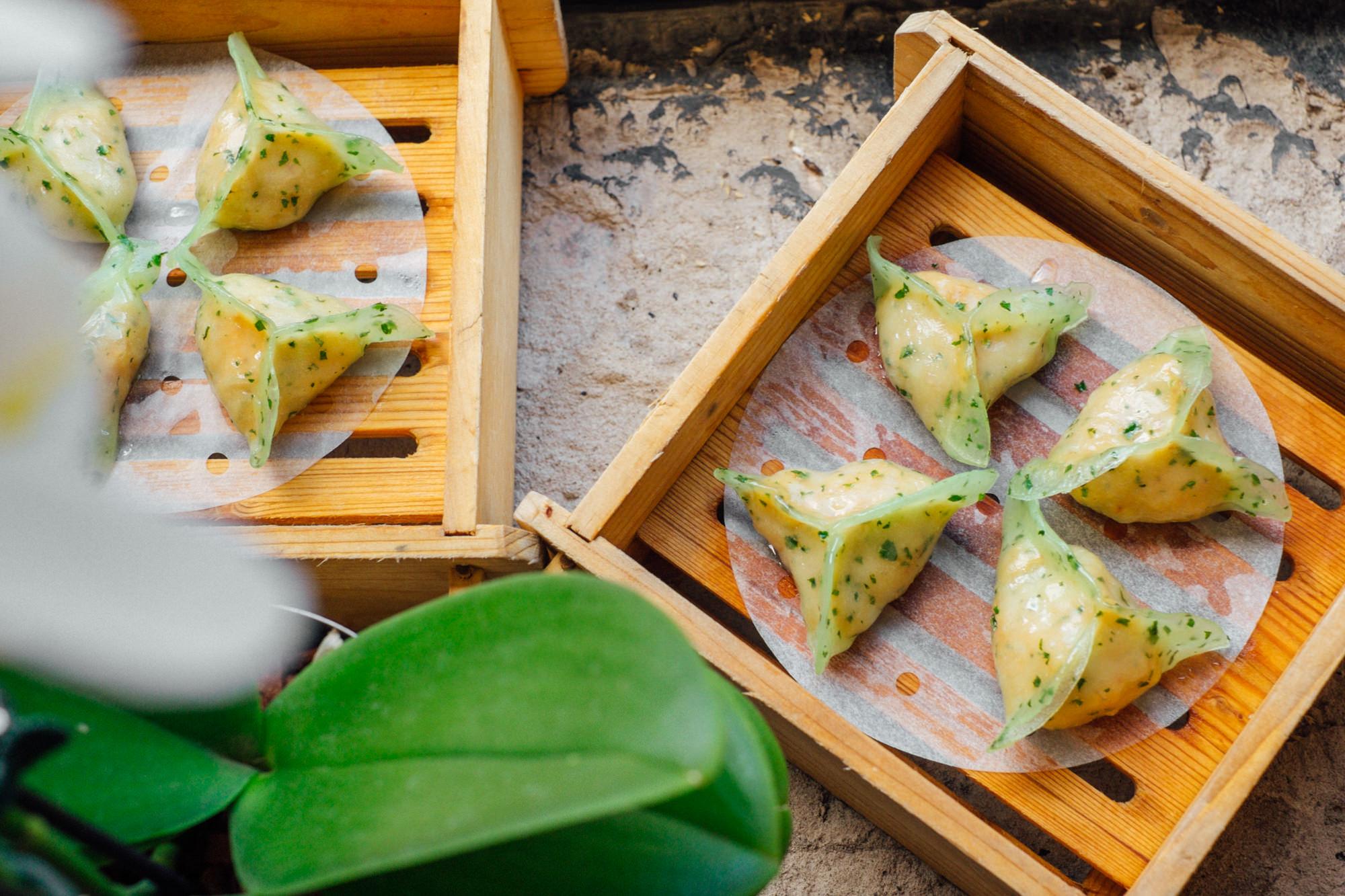 Poached Mackerel Dumpling, Kaffir Lime Leaf, Red Curry