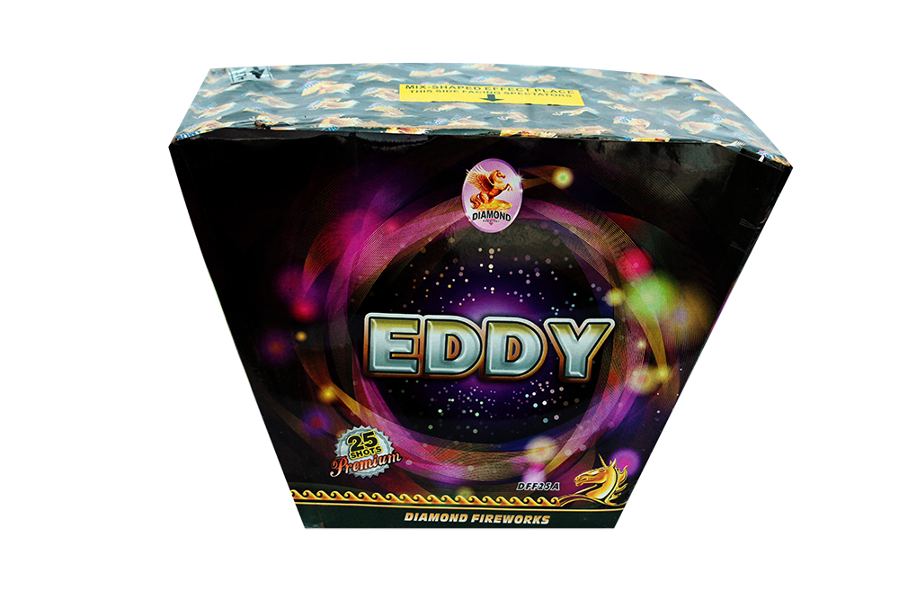 """EDDY-25shots 1.2"""" Fan Shaped redwave to green wave to blue wave to silver wave to popping star NEW!! !"""