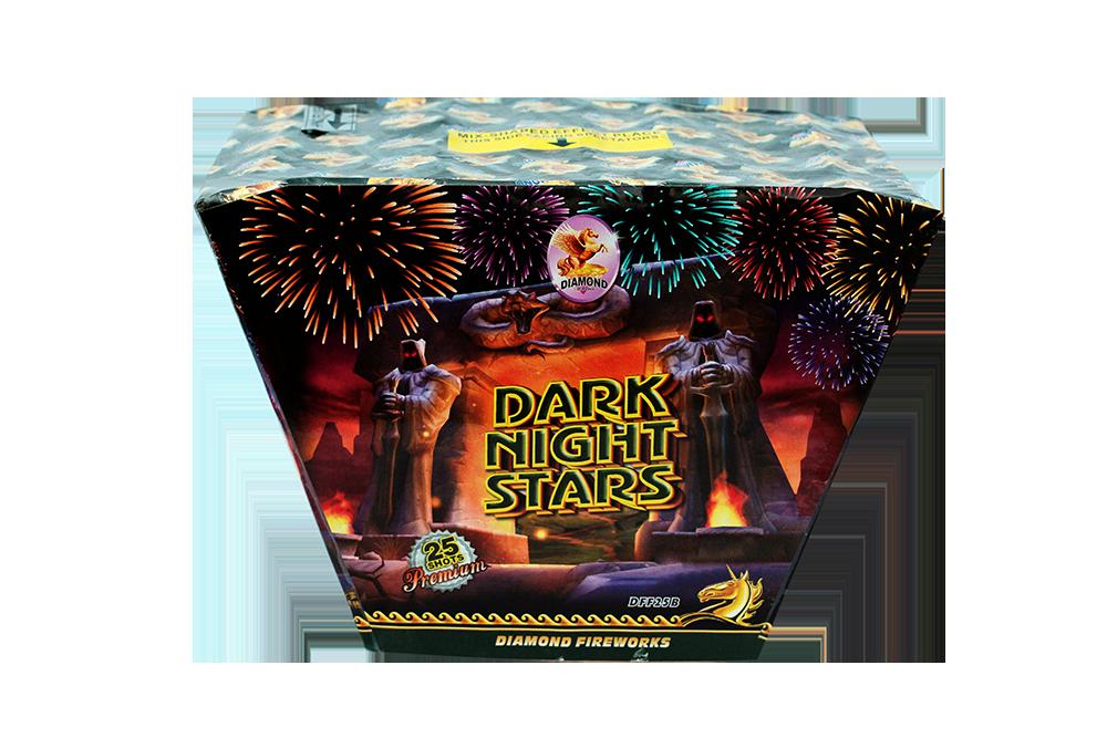 "DARK NIGHT STARS--25shots 1.2"" Fan Shaped redwave to blue wave to red wave to gold wave to popping star NEW!! !"