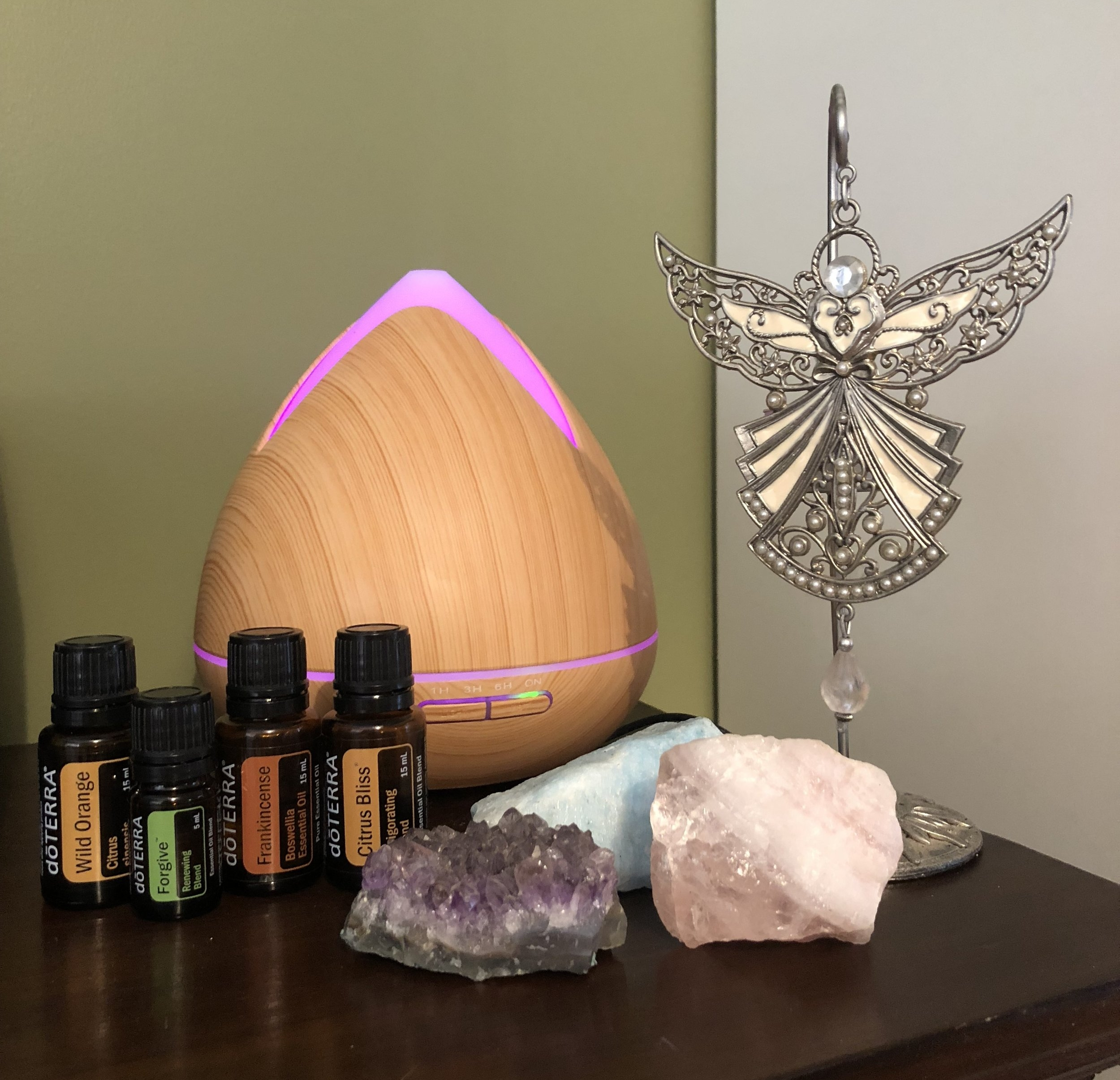 Diffusing essential oils to assist with healing, body, mind & spirit and because they smell divine.