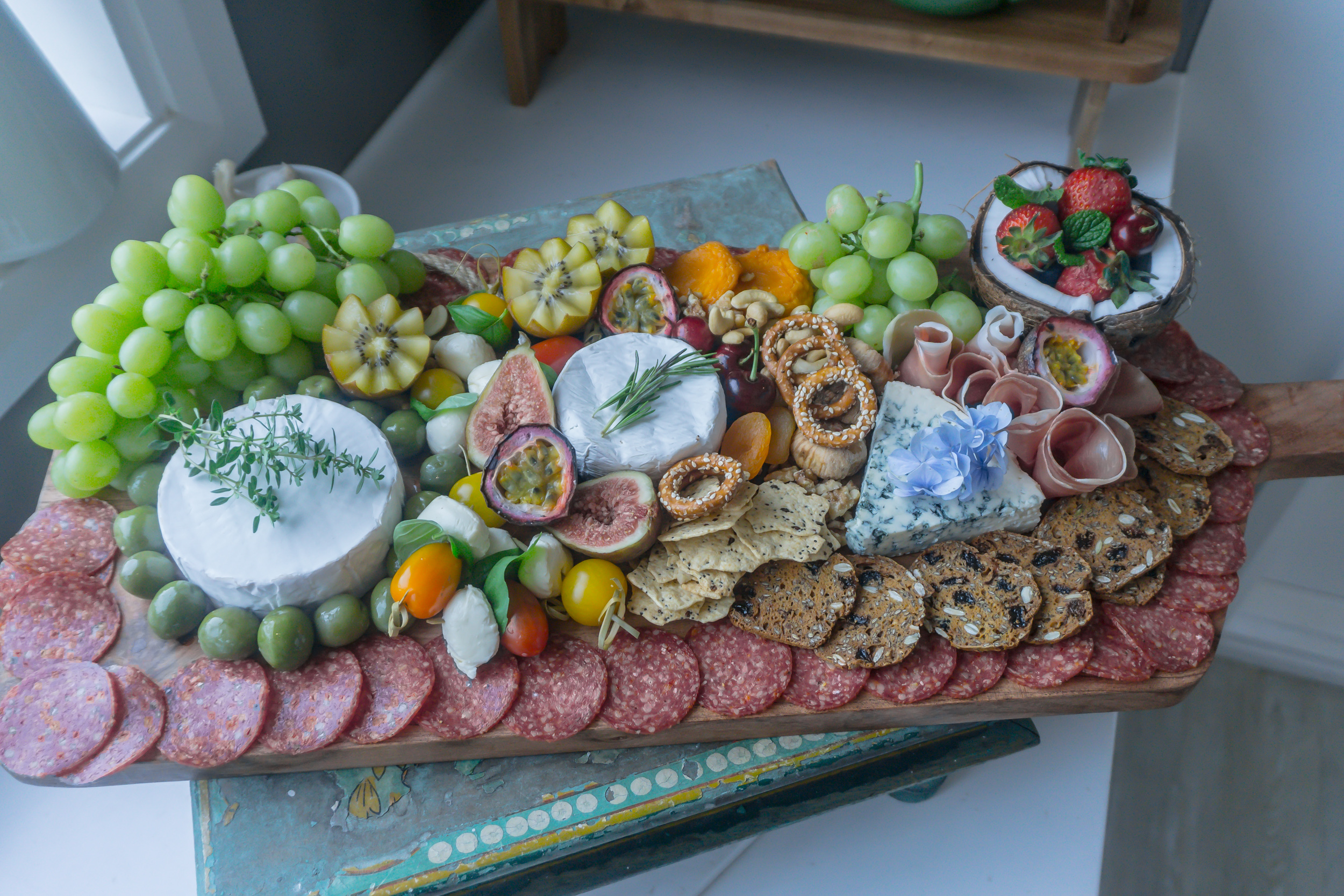 Make sure your platters are visually interesting as well as full of your favourite nibbles