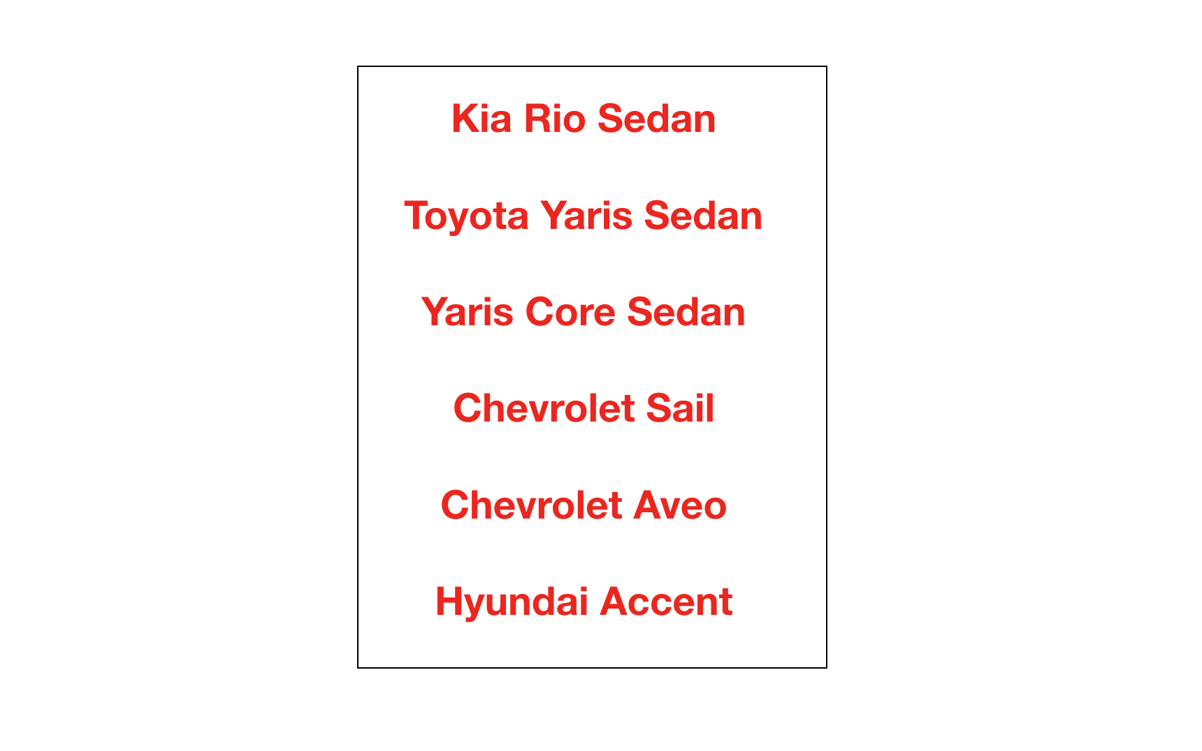 - This were the 6 car models from different brand that I had to research and analyze.