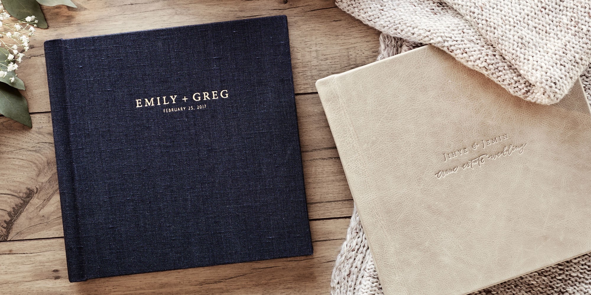 You can opt to deboss your names and/or your wedding date on the front of your album. this is totally optional, as some people would rather have the front cover be simple and plain. Debossing is a $25 add on.