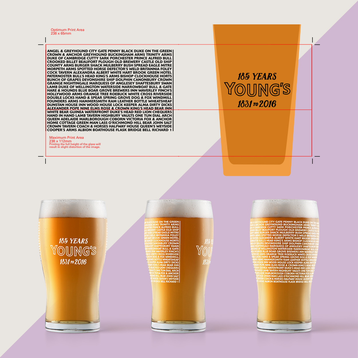 Young's Day custom designed commemorative pint glass mockup and packaging net
