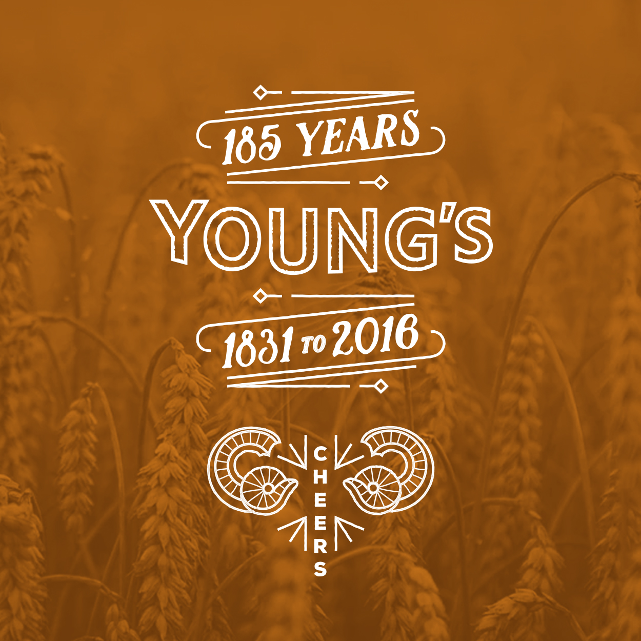 Young's Day commemorative logo overlaid on hops image