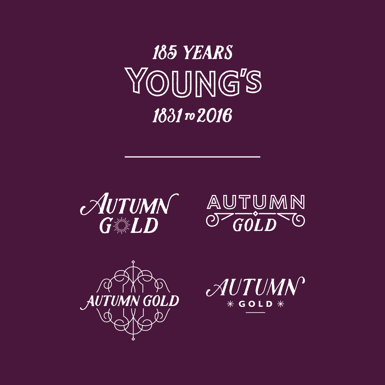Young's Day logo options for specially brewed ale, Autumn Gold