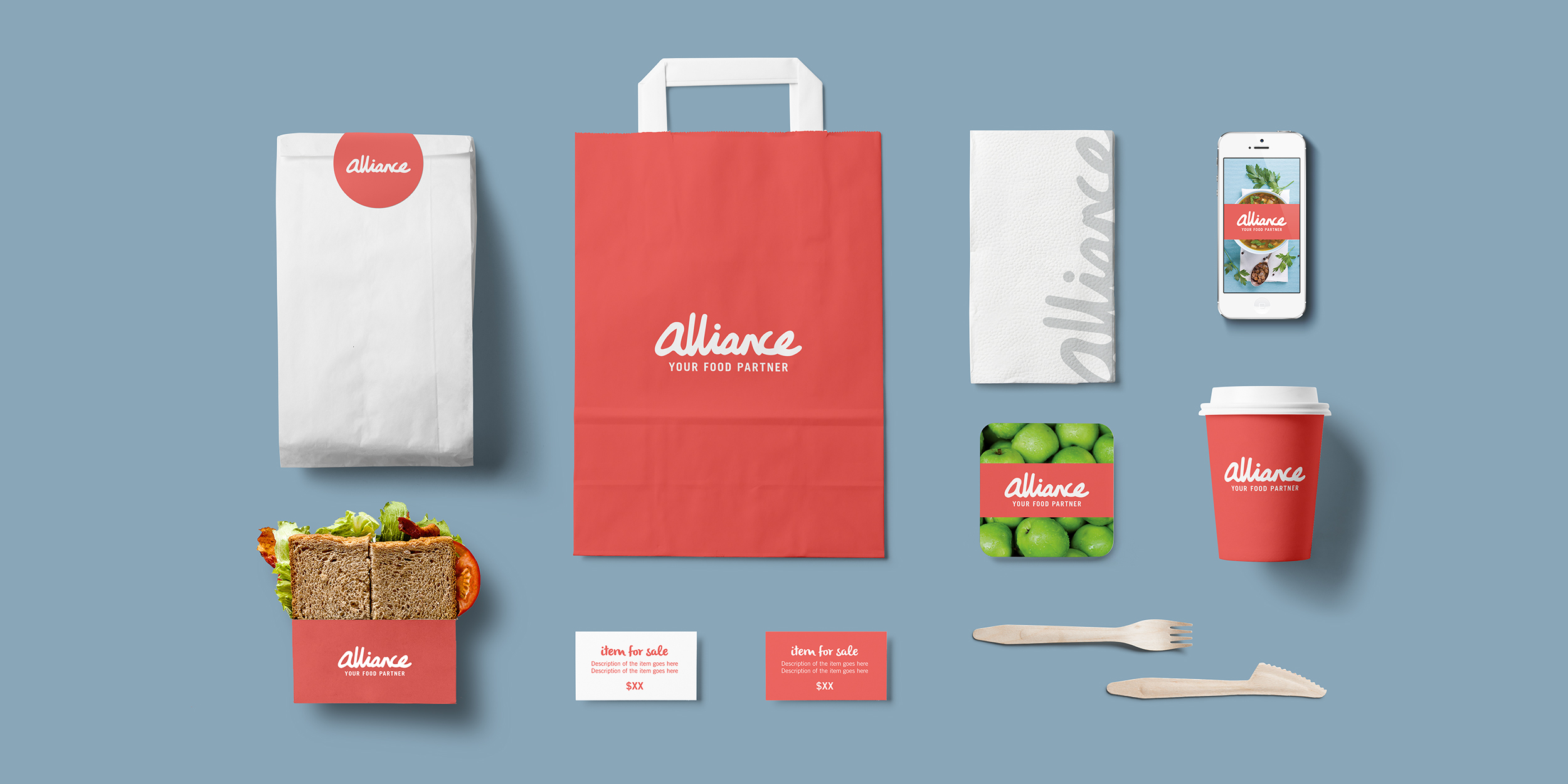 Alliance rebranded packaging items, signs and sticker mock ups