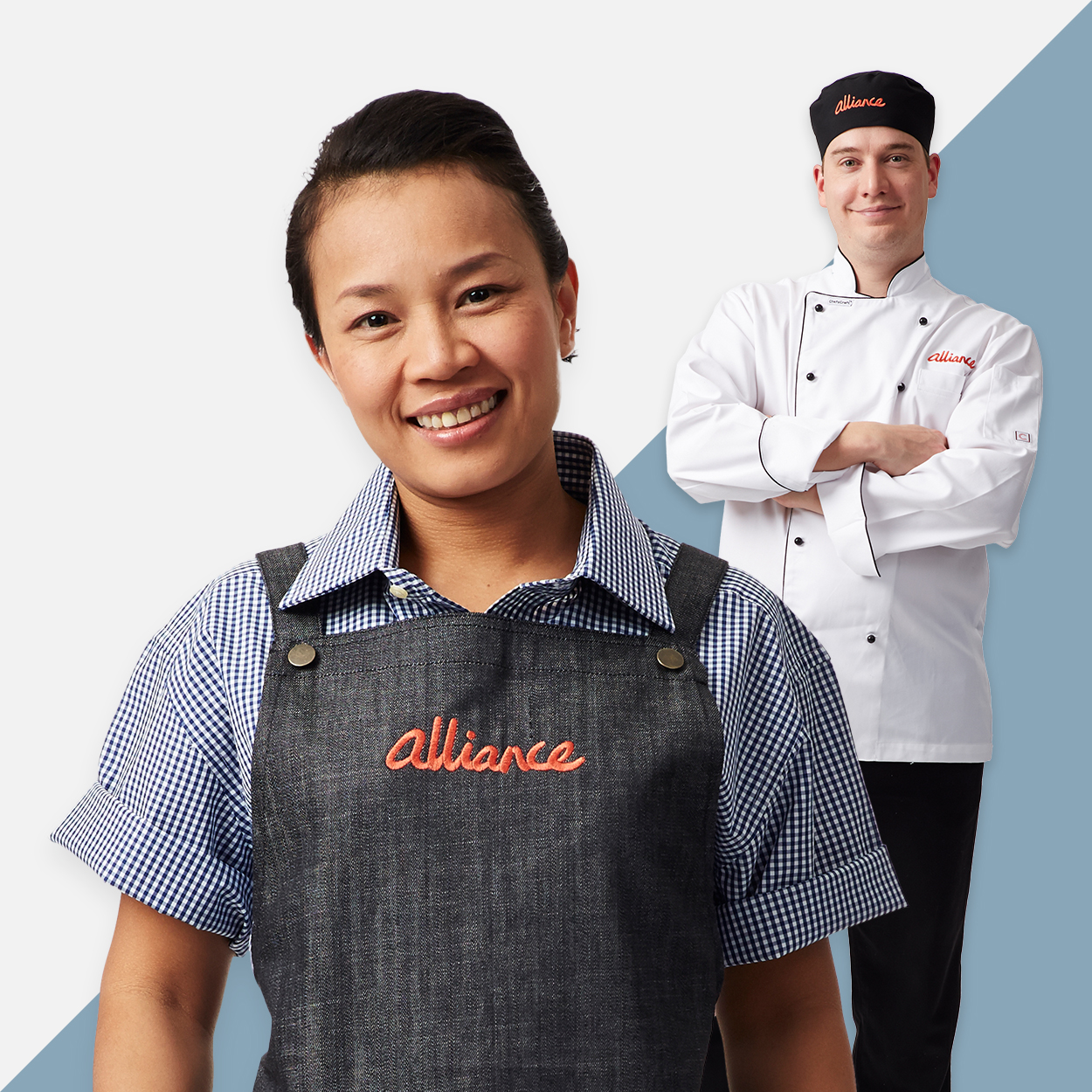 Alliance rebranded uniforms, women in branded apron and man in branded chef hat and jacket
