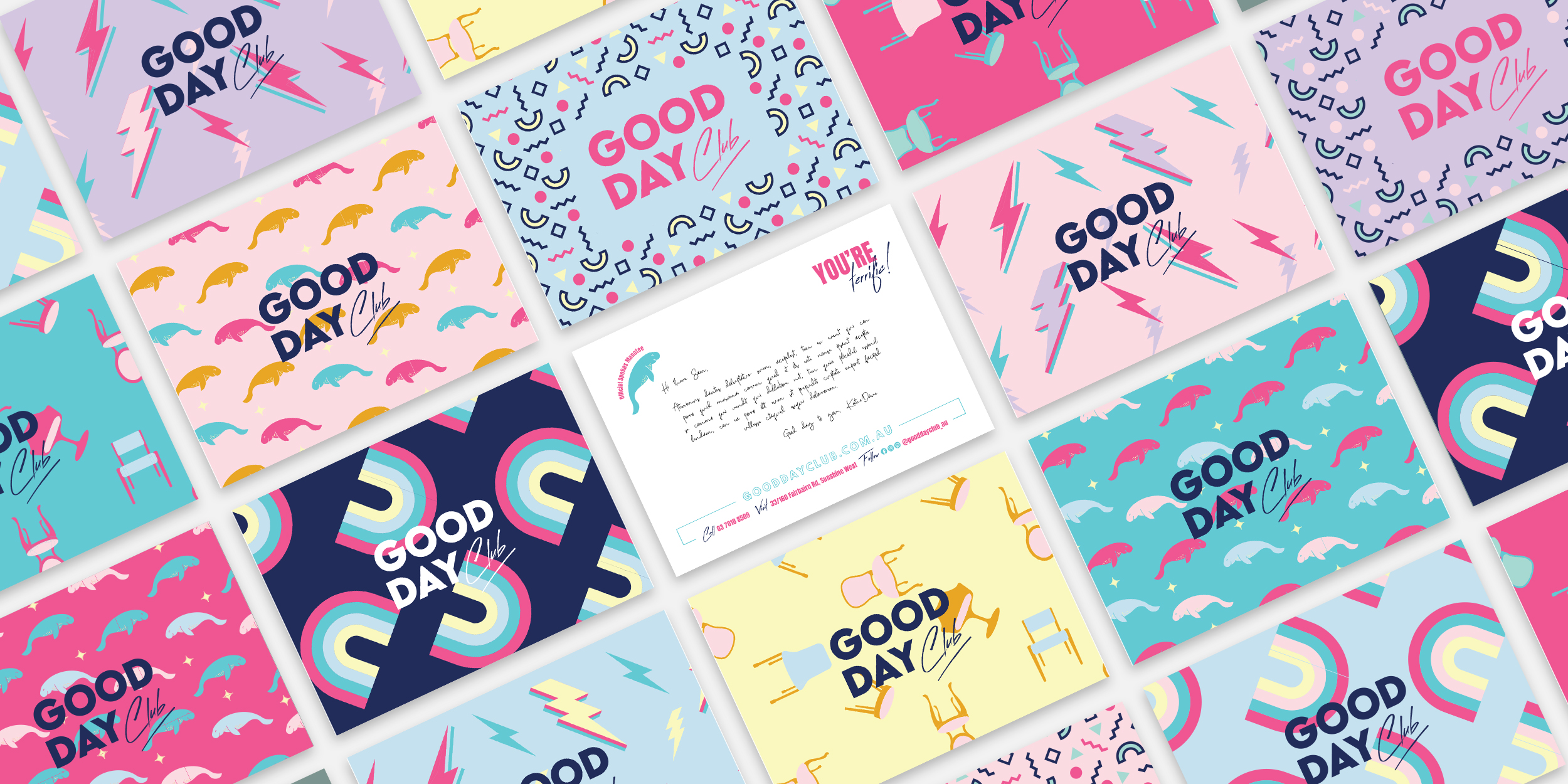 Good Day Club rebrand postcards with custom colourful patterns