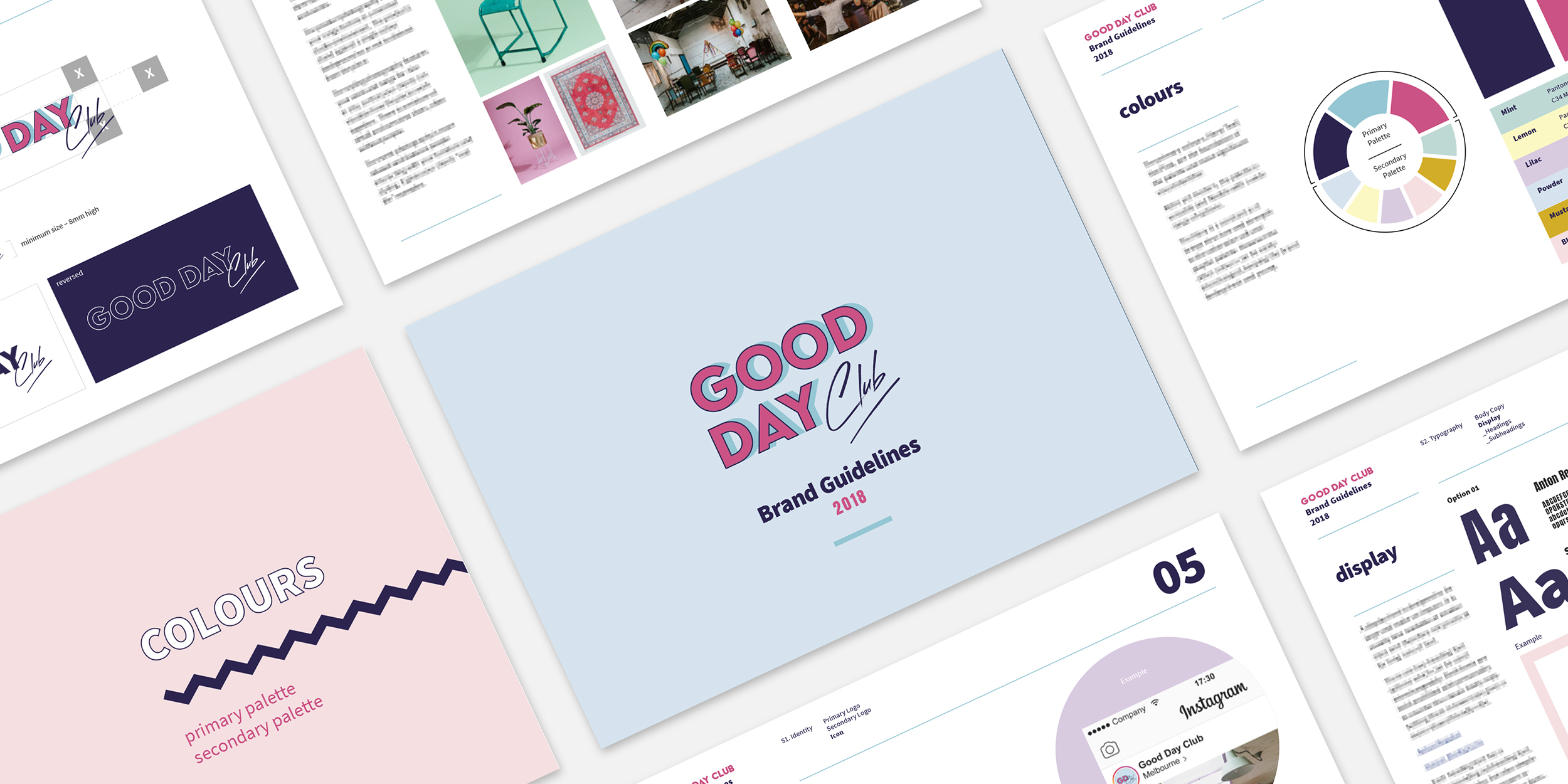 Good Day Club branding style guide pages layout