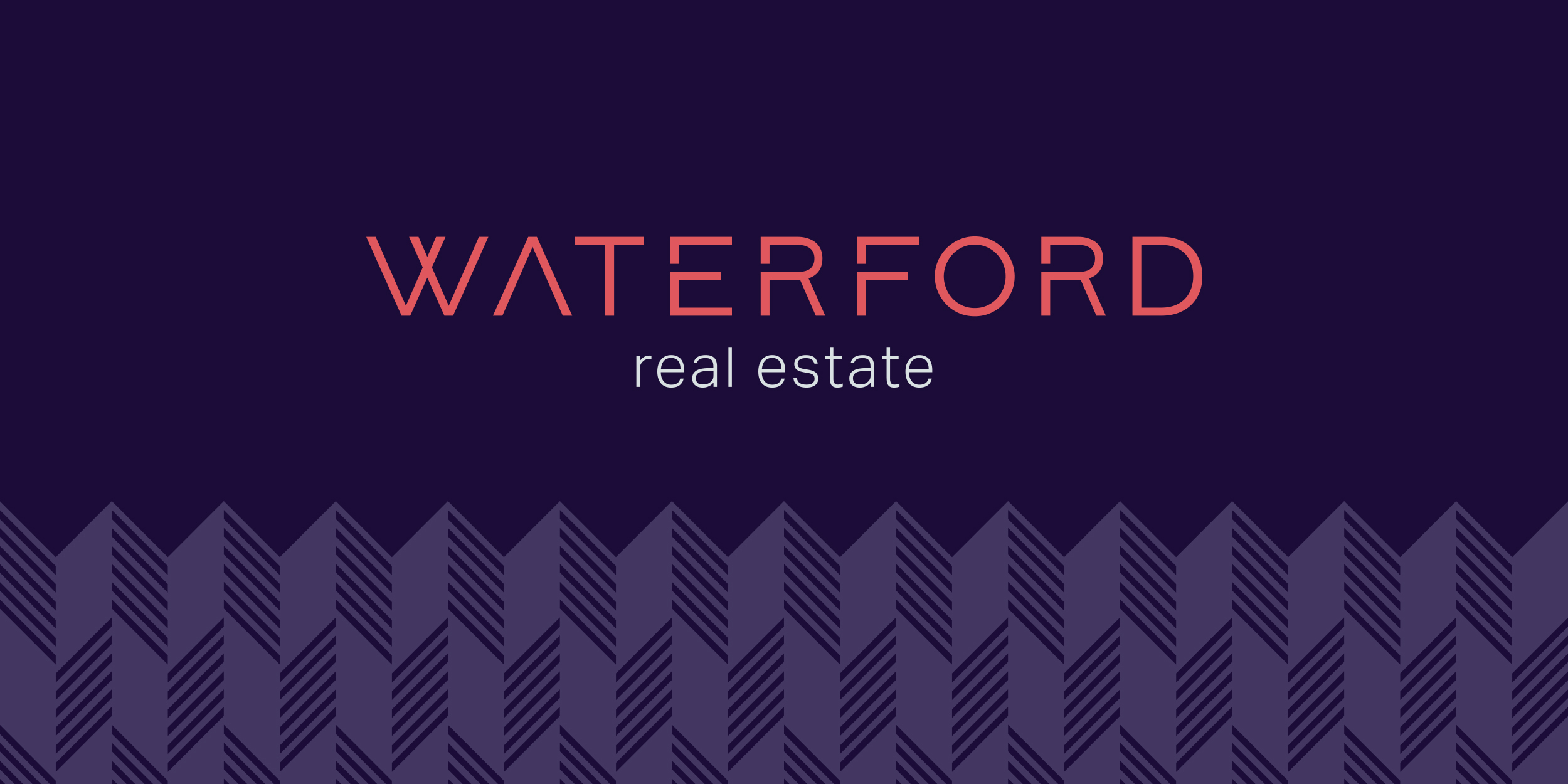 Waterford Real Estate new brand logo with custom pattern.