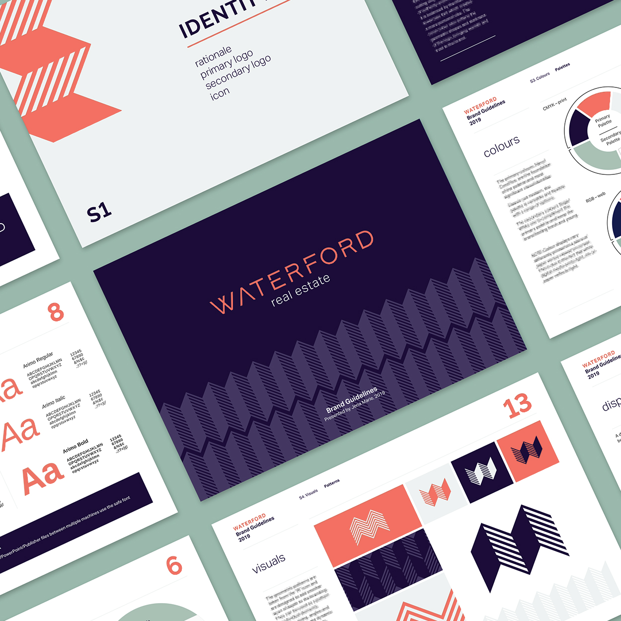 Waterford Real Estate brand guidelines pages layout