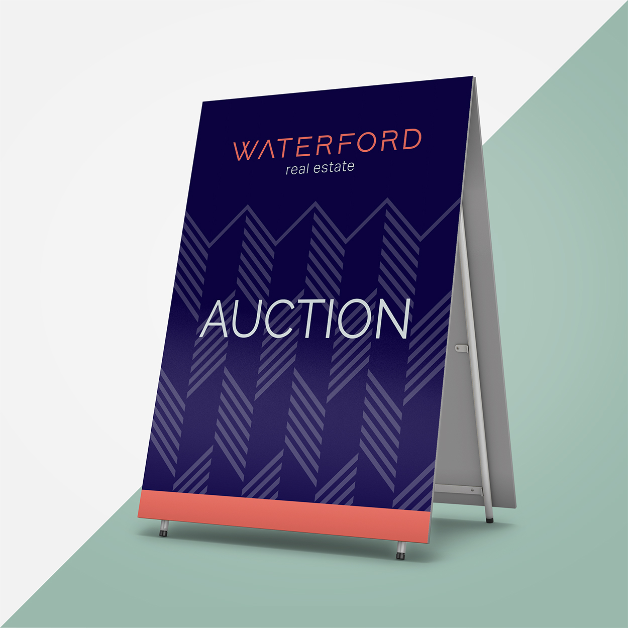 Waterford Real Estate signage with custom pattern