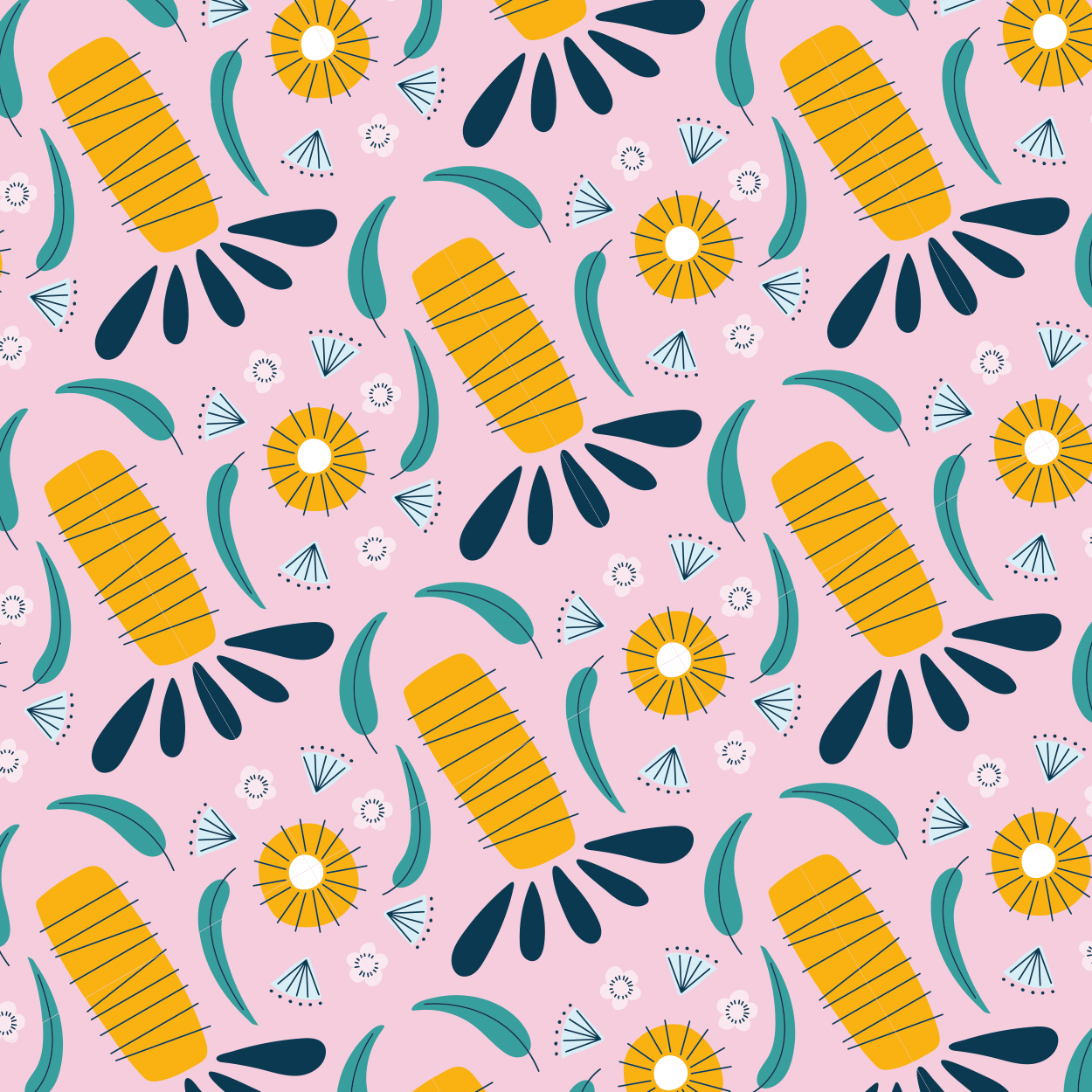 Wedding custom floral midcentury pattern