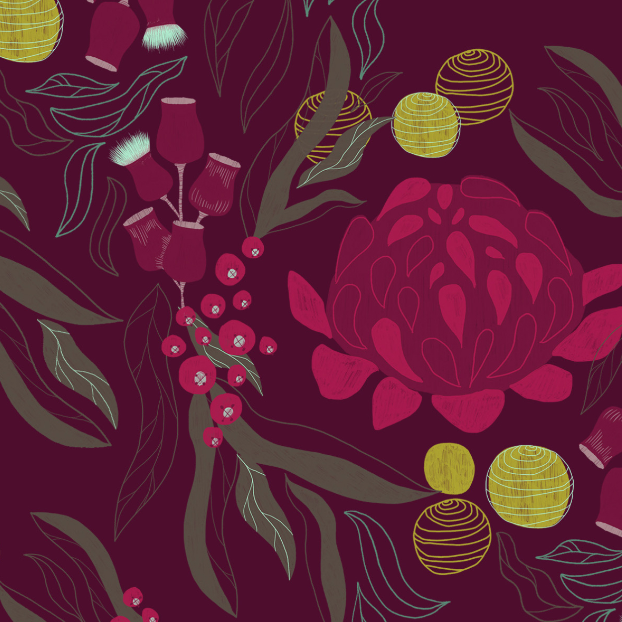 Wedding bespoke illustration floral asutraliana pattern