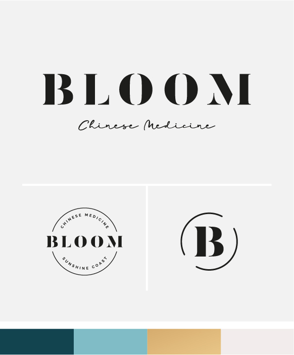 Bloom Chinese Medicine logo option 2, main logo, secondary logo, icon and colour palette