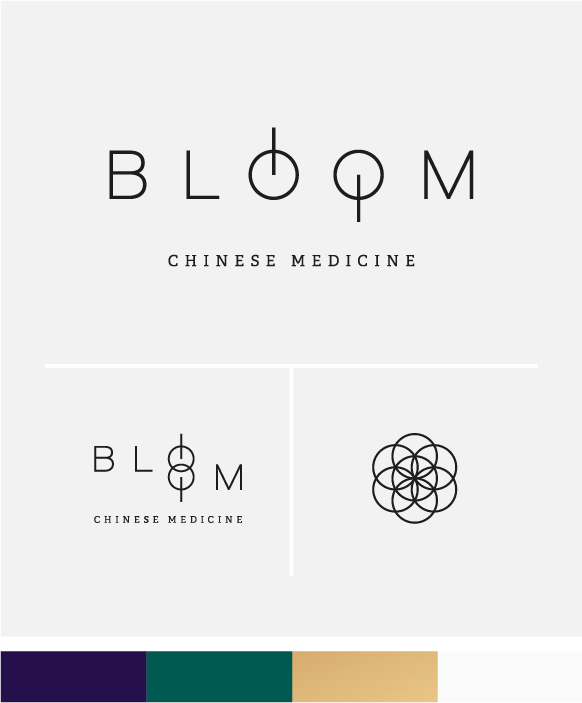 Bloom Chinese Medicine logo option 3 main logo, secondary logo, icon and colour palette