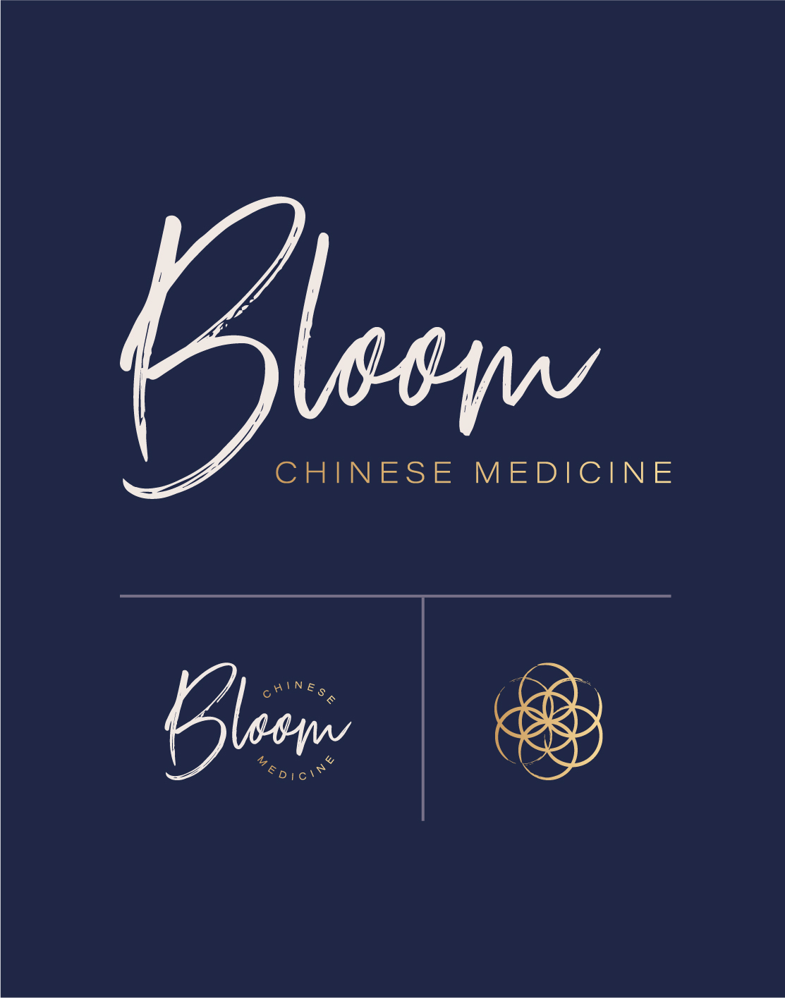 The Bloom logo is inspired by strength in femininity. - The handcrafted brush script is feminine and beautifully imperfect – it has charm. The rhythm of the letterforms leads the viewer along the wordmark, like the ebbs and flows of the tide.The brush script is balanced by a clear and minimal sans serif, which brings the seriousness of health back to the logo. It strikes a balance between logic and emotion.The deep midnight blue and pop of gold hint at the premium nature of the brand without being ostentatious or exclusionary.