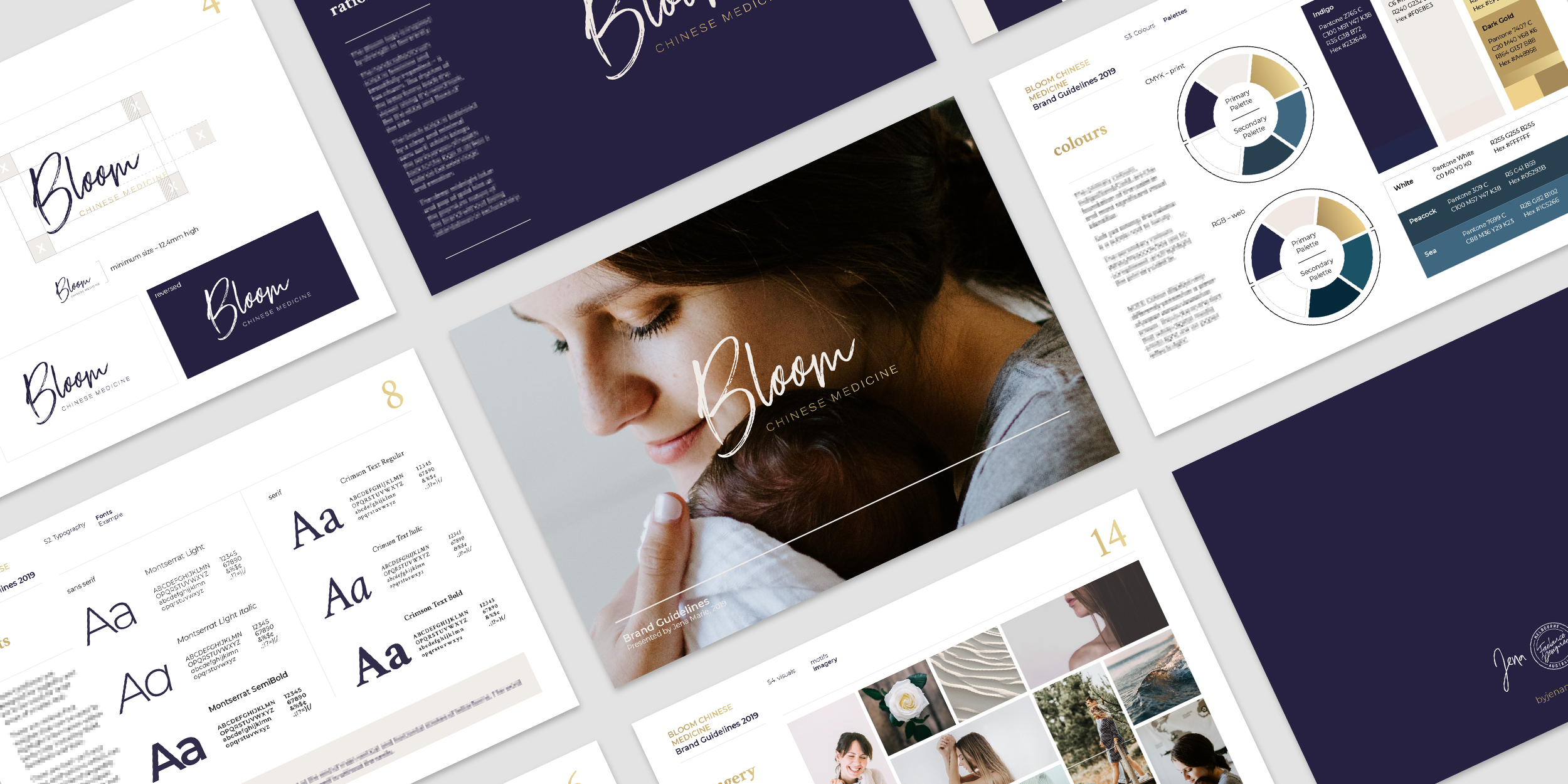Bloom Chinese Medicine branding guidelines pages mocked up.