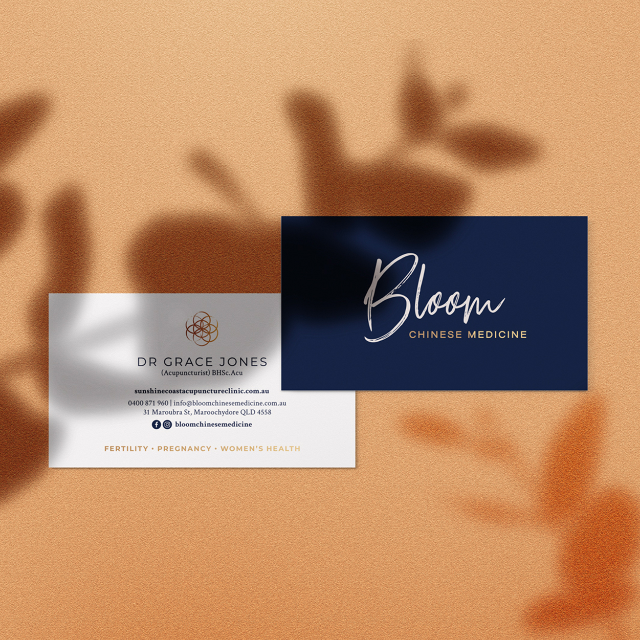 Bloom Chinese Medicine business cards.