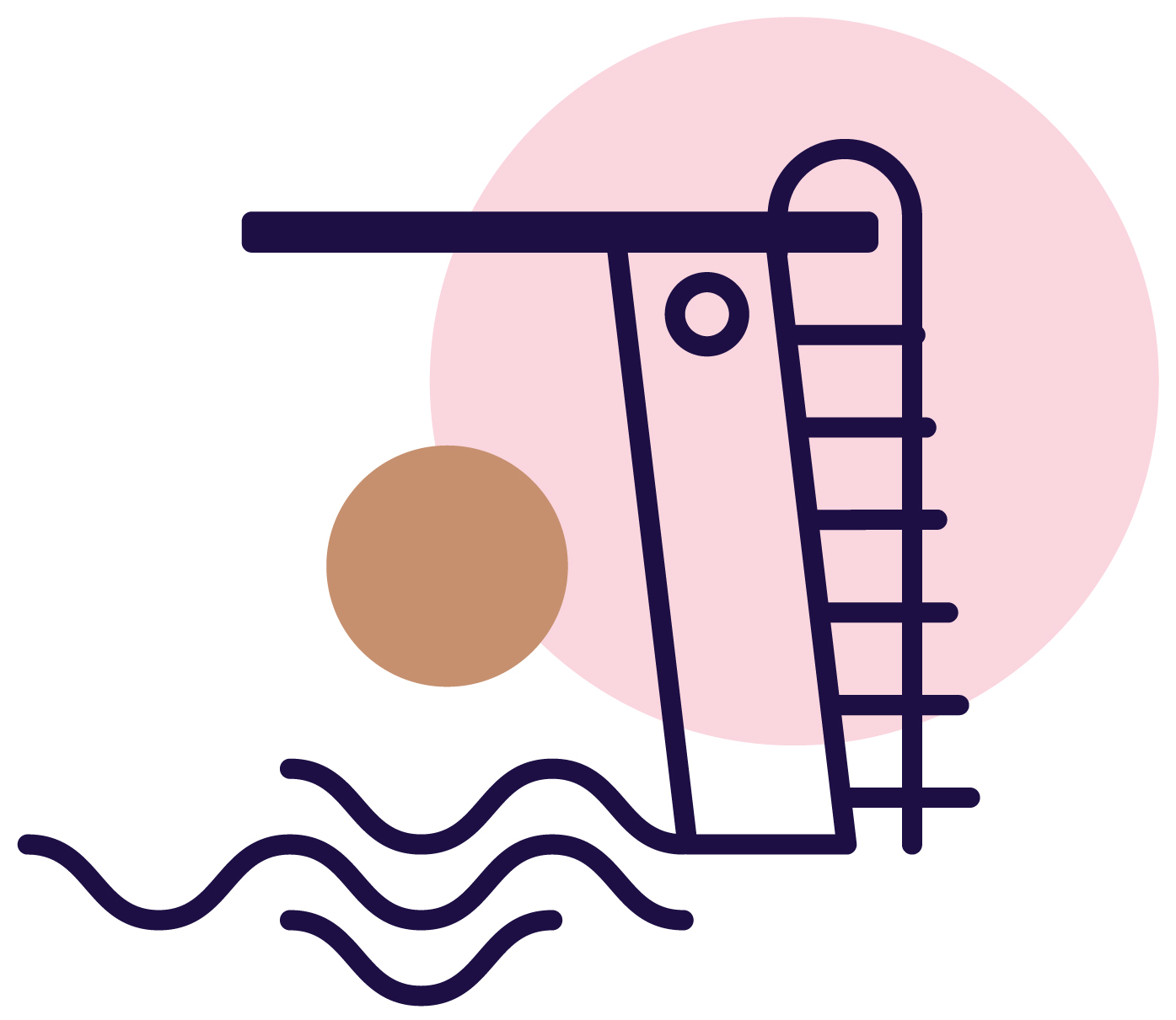 Jena Marie illustration of diving board