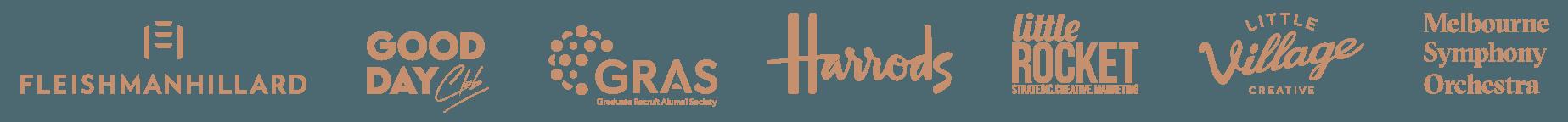 Clients: Fleishman Hillard, Good Day Club, GRAS Graduate Recruit Alumni Society, Harrods, Little Rocket, Little Village, Melbourne Symphony Orchestra