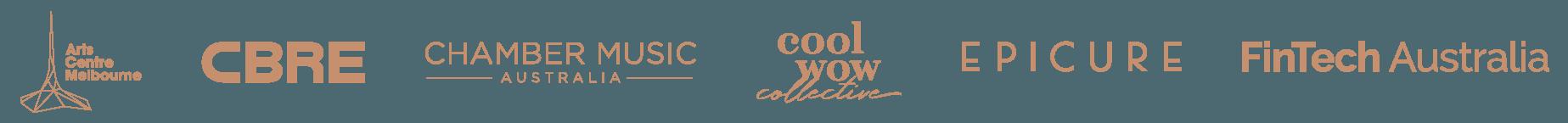 Client logos: Arts Centre Melbourne, CBRE, Chamber Music Australia, Cool Wow Collective, Epicure FinTech Australia