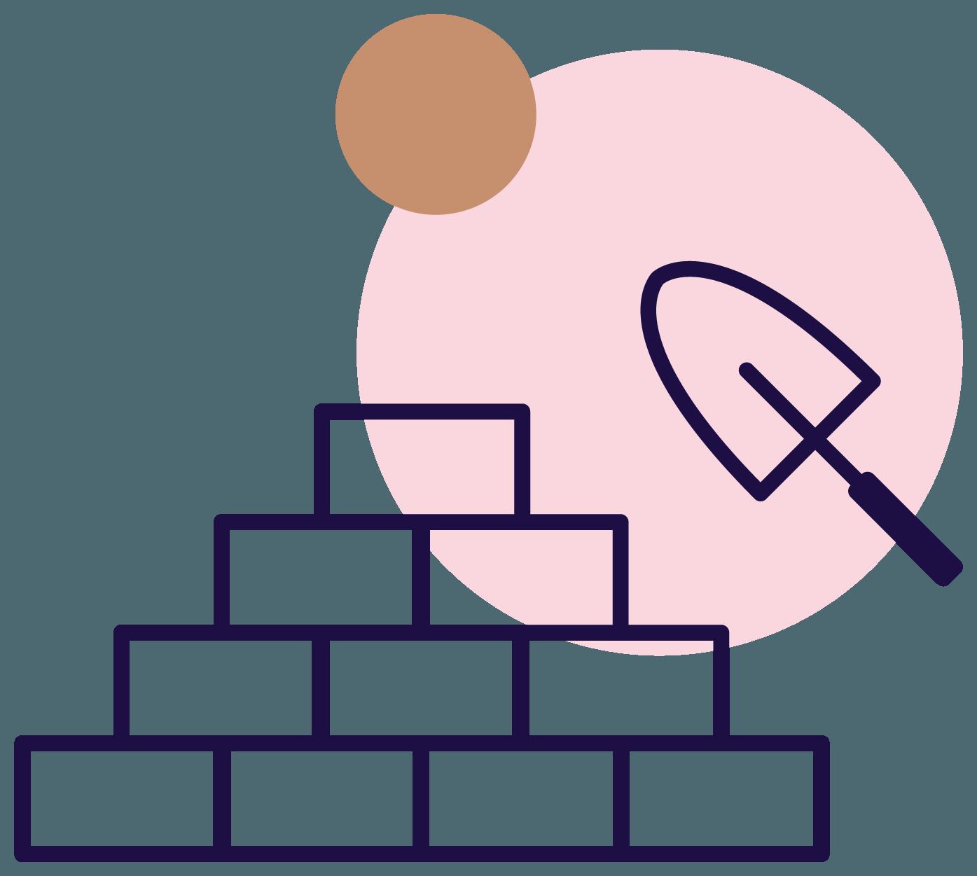 Jena Marie illustration of brick pile with trovel