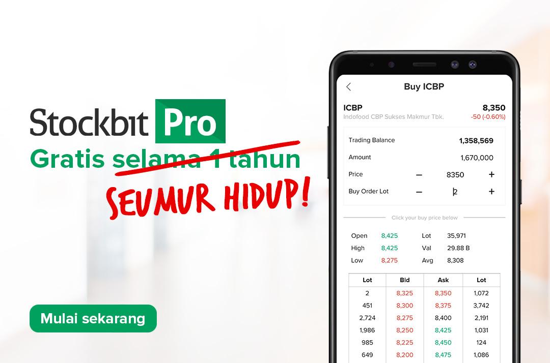 *Dapatkan akses Stockbit Pro Seumur Hidup dengan dengan minimum deposit Rp 5 juta.