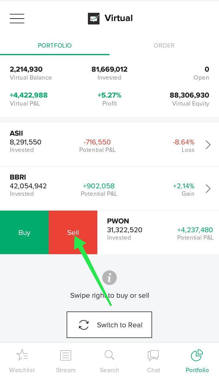 17. Sell - Tombol yang kamu gunakan untuk menjual saham yang telah kamu beli.Kamu bisa menjual saham dengan cara swipe ke kanan saham yang ingin dijual melalui halaman portofolio.