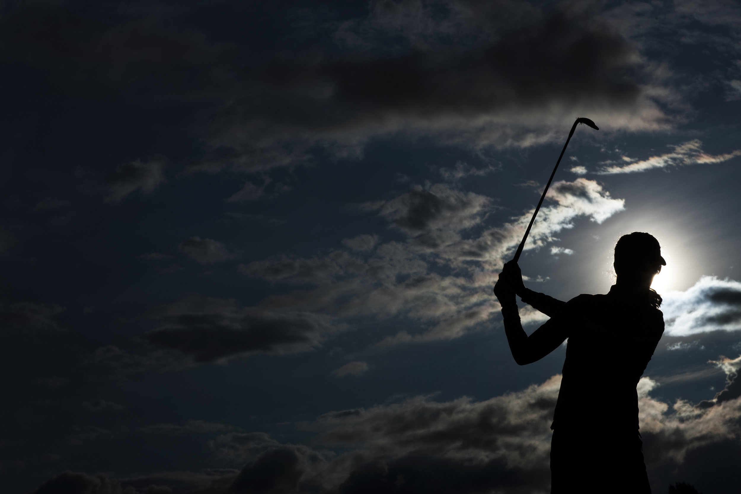 Sandra Gal of Germany practices early morning before the fourth and final round of the Evian Masters golf tournament July 24, 2011. REUTERS/Valentin Flauraud (FRANCE)