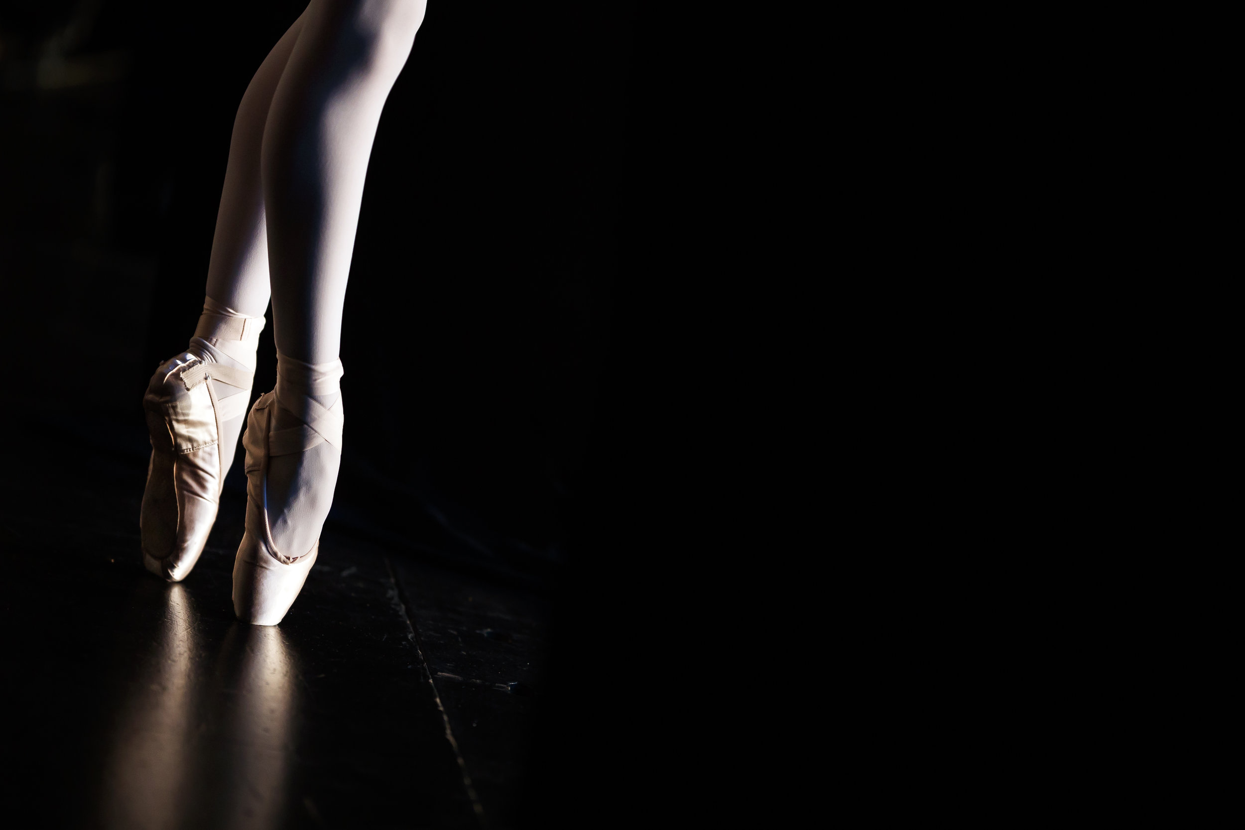 The pointe shoes of a dancer are pictured during the first day of the 47th Prix de Lausanne in Lausanne, Switzerland, Monday, February 4, 2019. Launched in 1973, the Prix de Lausanne is an international dance competition for young dancers aged 15 to 18. Closing the six-day event, scholarships granting free tuition in a world-renowned dance school or dance company will be award to the best dancers out of 74 participants this year. (KEYSTONE/Valentin Flauraud)