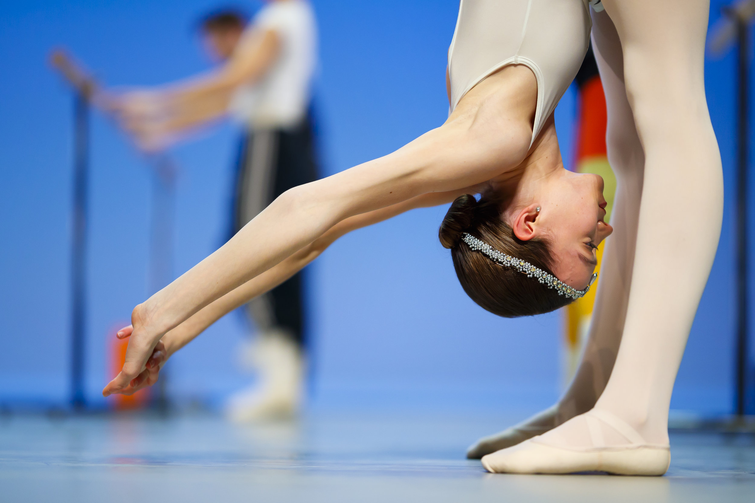 Mackenzie Brown from the U.S. warms up on stage before the final of the 47th Prix de Lausanne in Lausanne, Switzerland, Saturday, February 9, 2019. Launched in 1973, the Prix de Lausanne is an international dance competition for young dancers aged 15 to 18. Closing the six-day event, scholarships granting free tuition in a world-renowned dance school or dance company are awarded to the best dancers out of 74 participants this year. (KEYSTONE/Valentin Flauraud)