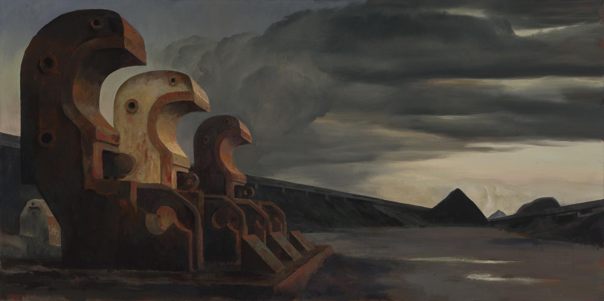 RICK AMOR   Silent evening , 2010-2016  oil on canvas  81 x 162 cm