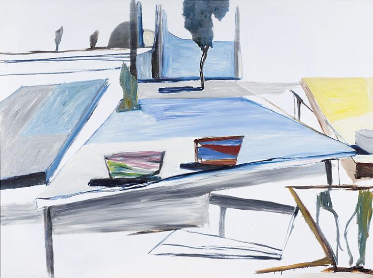KEN WHISSON   Kitchen Tables , 1981  oil on canvas  89.2 x 118.8cm