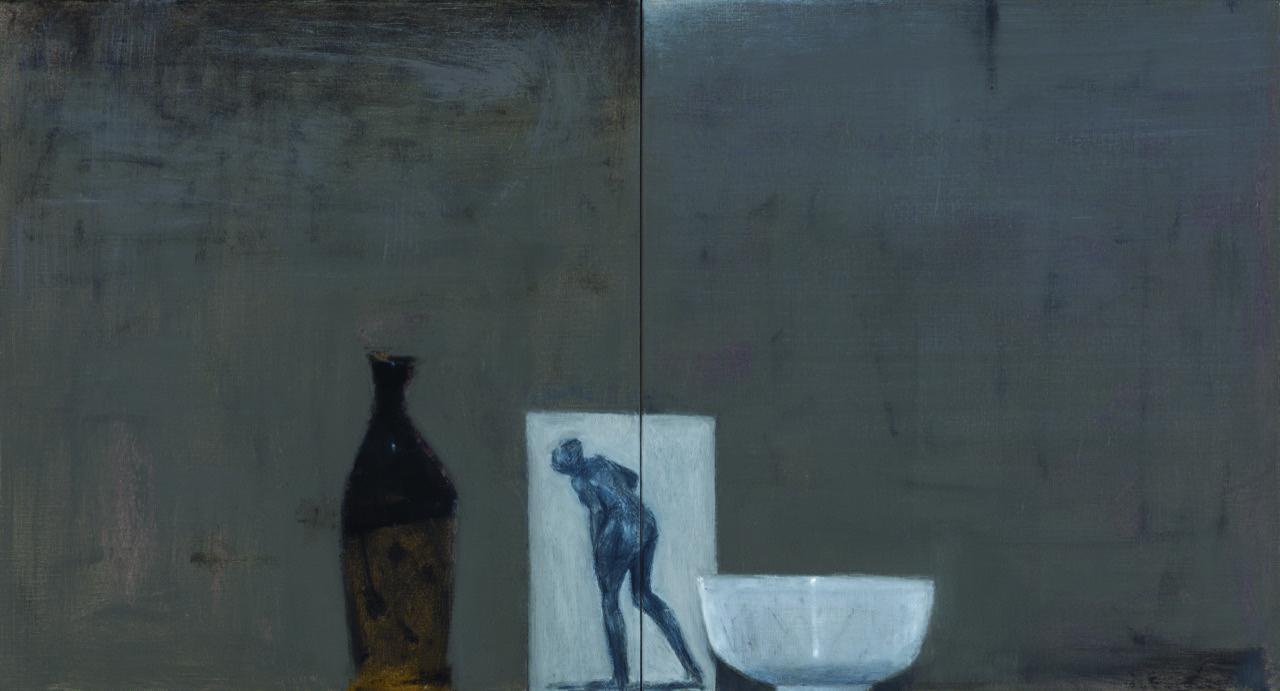 Sake bottle & bowl/study after Degas , 2016  oil on canvas  66 x 122 cm