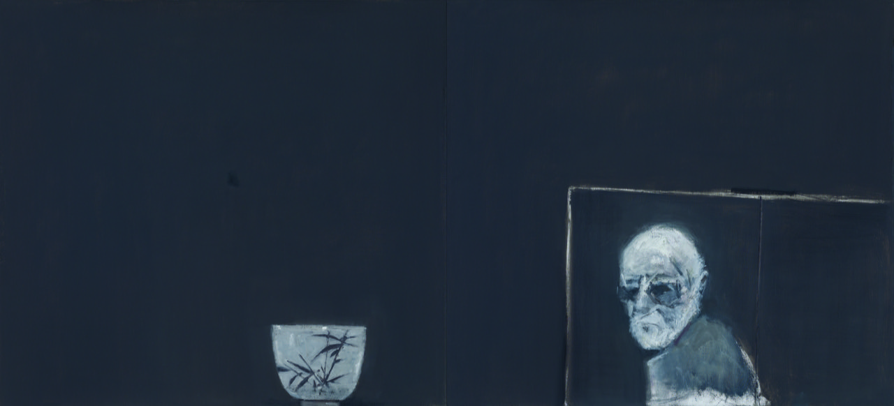 Still life with unfinished self portrait , 2011  oil on canvas  107 x 234 cm