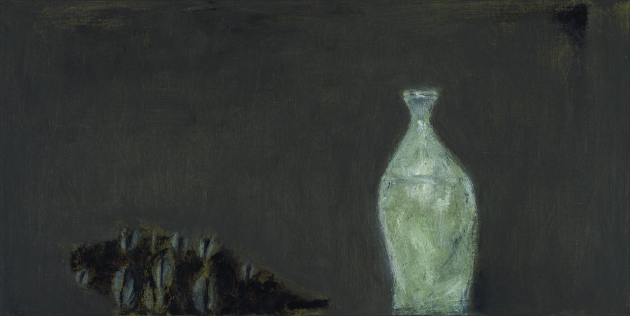 Sake bottle and banksia, 2013  oil on canvas  30 x 60 cm