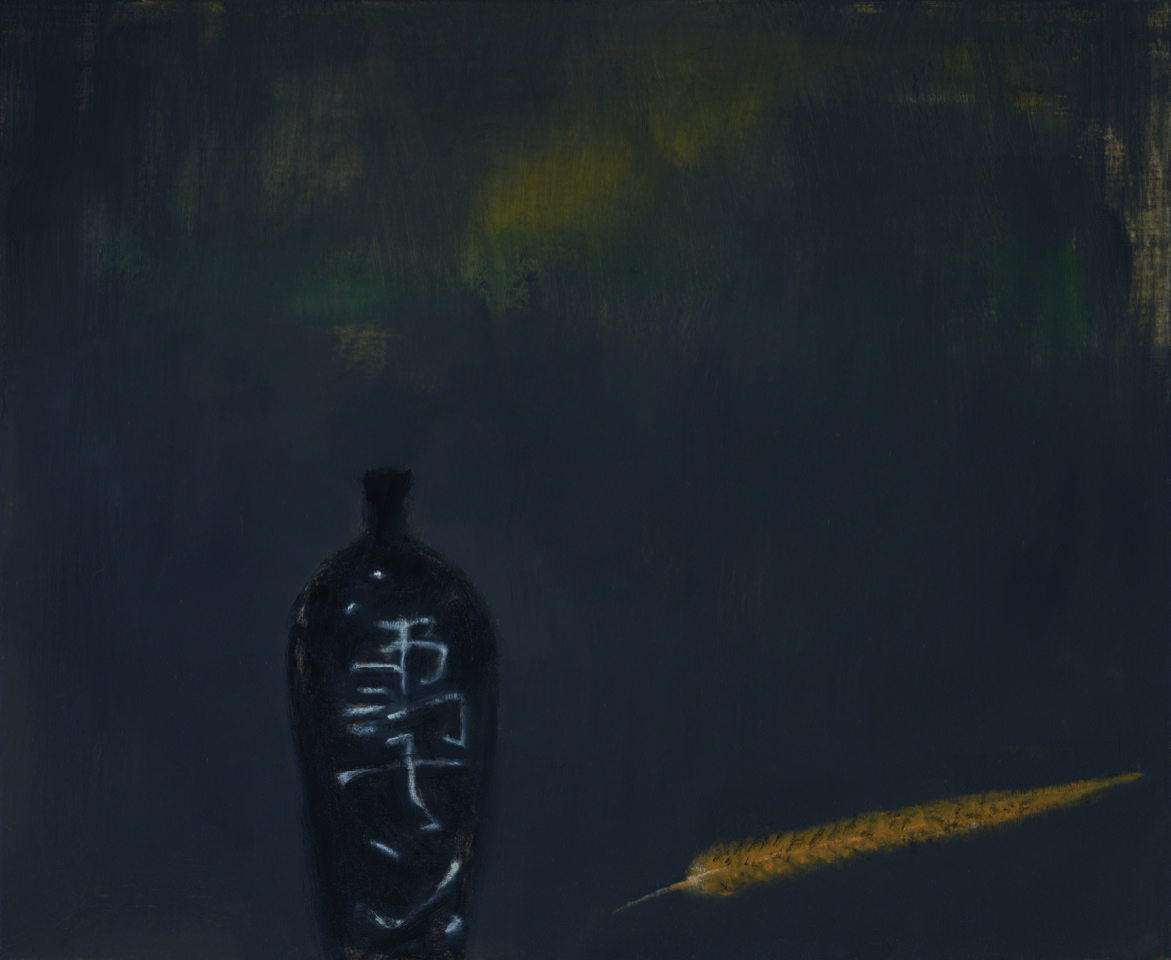 Sake bottle and feather , 2011  oil on canvas  71.5 x 86.5 cm