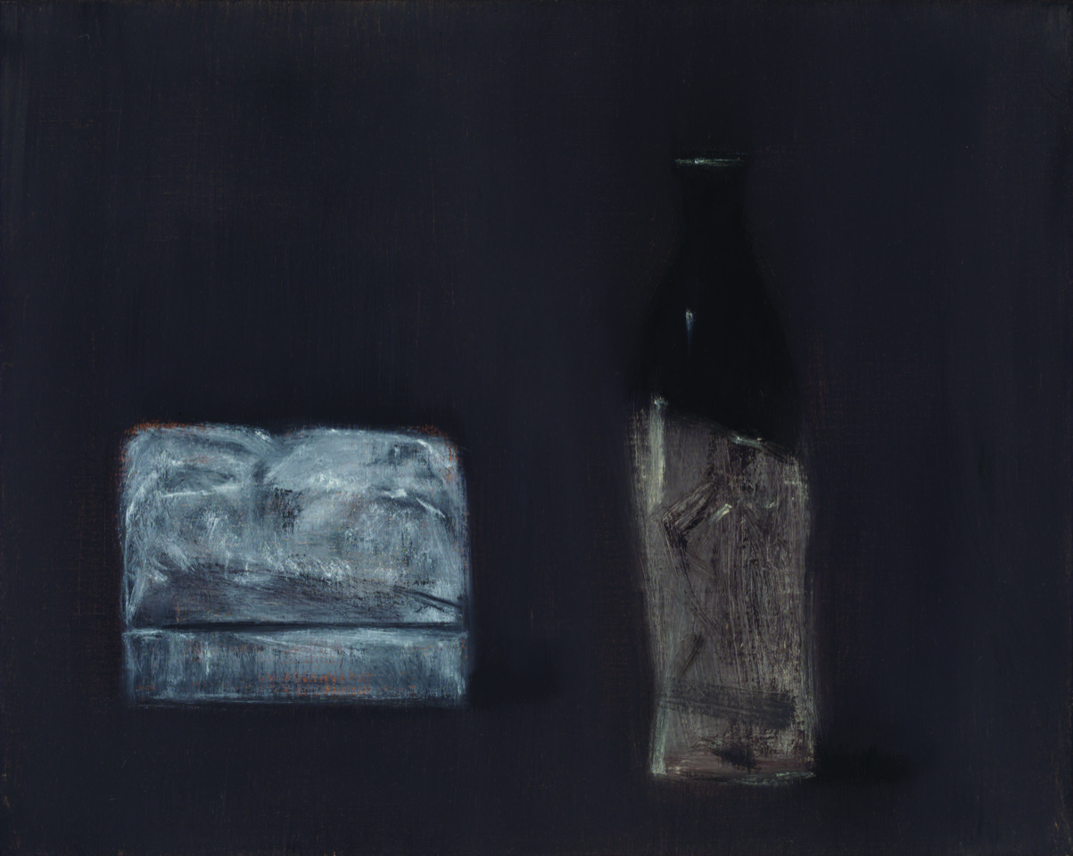 seal box and sake bottle , 2017  oil on canvas  41 x 54 cm