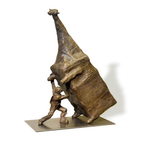 John Kelly   Man Lifting Cow , 2016  bronze, edition 1 of 6  102 x 76 x 45 cm