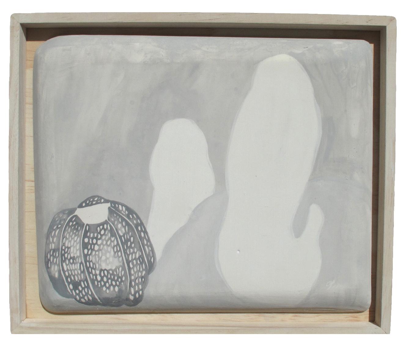 Hidden greyness , 2017  gouache on plaster tile, wooden frame  30 x 24 cm