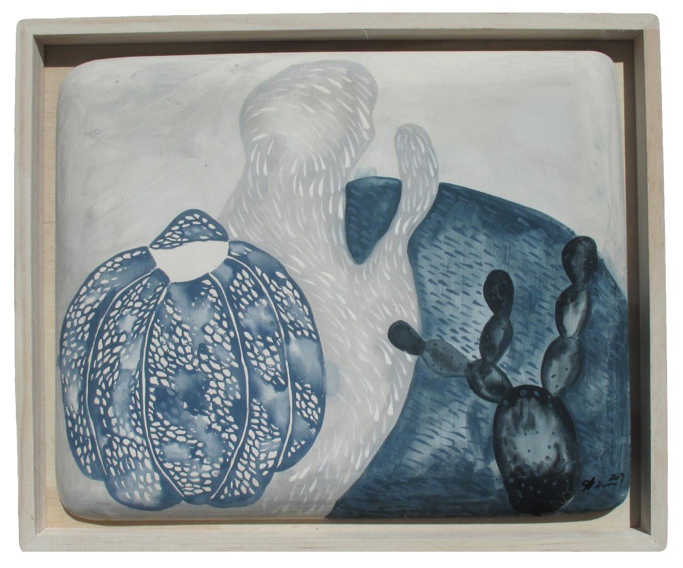 Hidden behind grey , 2017  gouache on plaster tile, wooden frame  30 x 24 cm