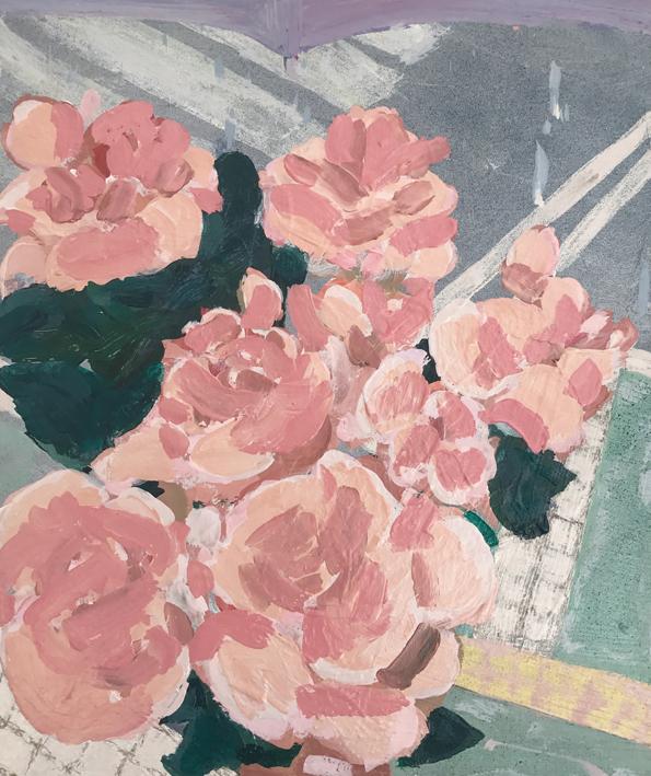 Bouquet , 2017  acrylic and enamel on board  25 x 30 cm